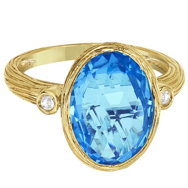 Antique Blue Topaz & Diamond Cocktail Ring 14k Yellow Gold (6.54ct)