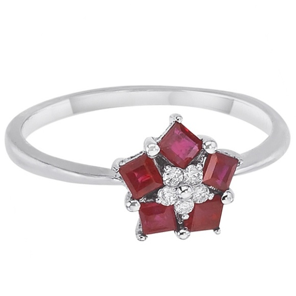 Princess-Cut Ruby & Diamond Flower Ring 14k White Gold (0.45ct)