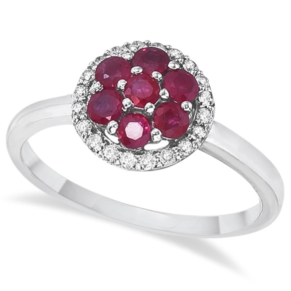 Ruby & Diamond Flower Cluster Cocktail Ring 14k White Gold (0.90ct)