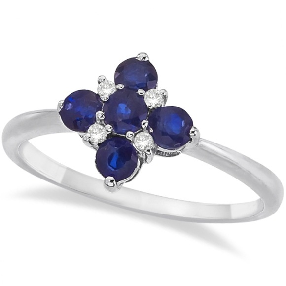 Diamond & Blue Sapphire Flower Shaped Ring 14k White Gold (0.55ct)