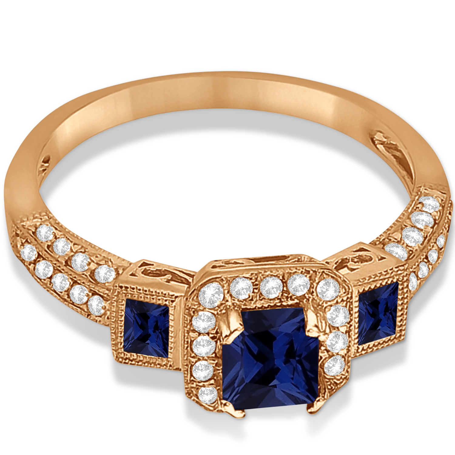 Blue Sapphire & Diamond Engagement Ring in 14k Rose Gold (1.35ctw)