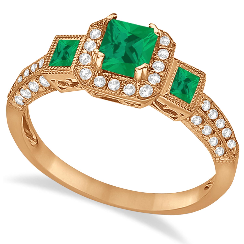 Emerald & Diamond Engagement Ring in 14k Rose Gold (1.35ctw)