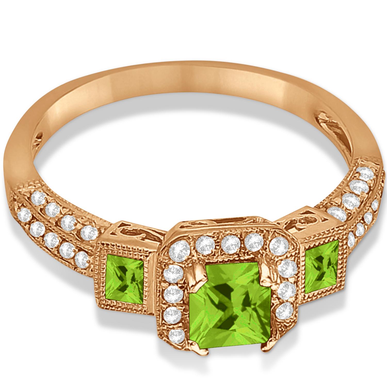 Peridot & Diamond Engagement Ring In 14k Rose Gold (1