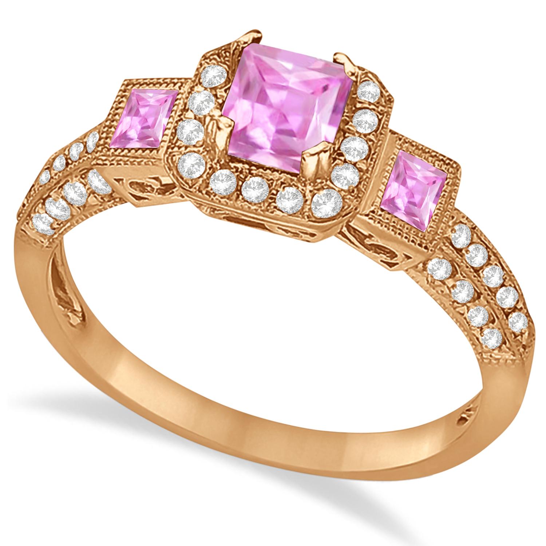 pink sapphire amp diamond engagement ring 14k rose gold 1