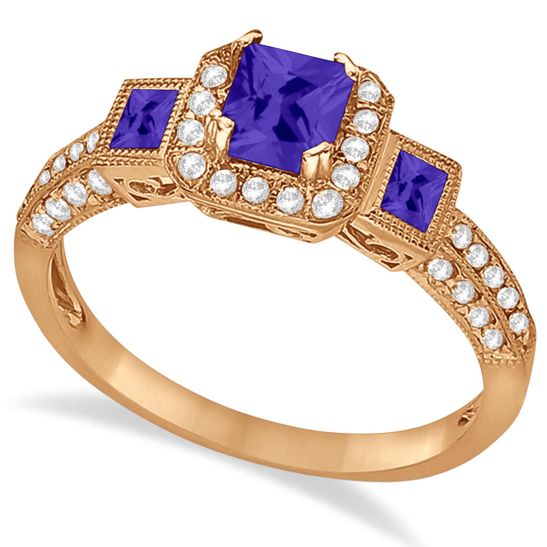 Tanzanite & Diamond Engagement Ring in 14k Rose Gold (1.35ctw)