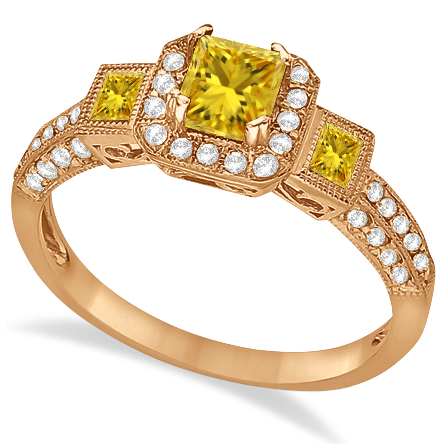 Yellow Sapphire & Diamond Engagement Ring in 14k Rose Gold (1.35ctw)