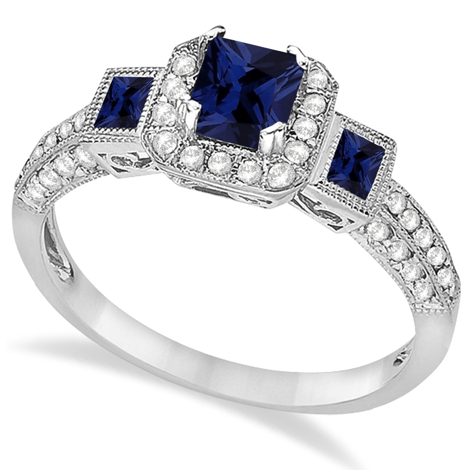 Blue Sapphire & Diamond Engagement Ring 14k White Gold 1 35ct