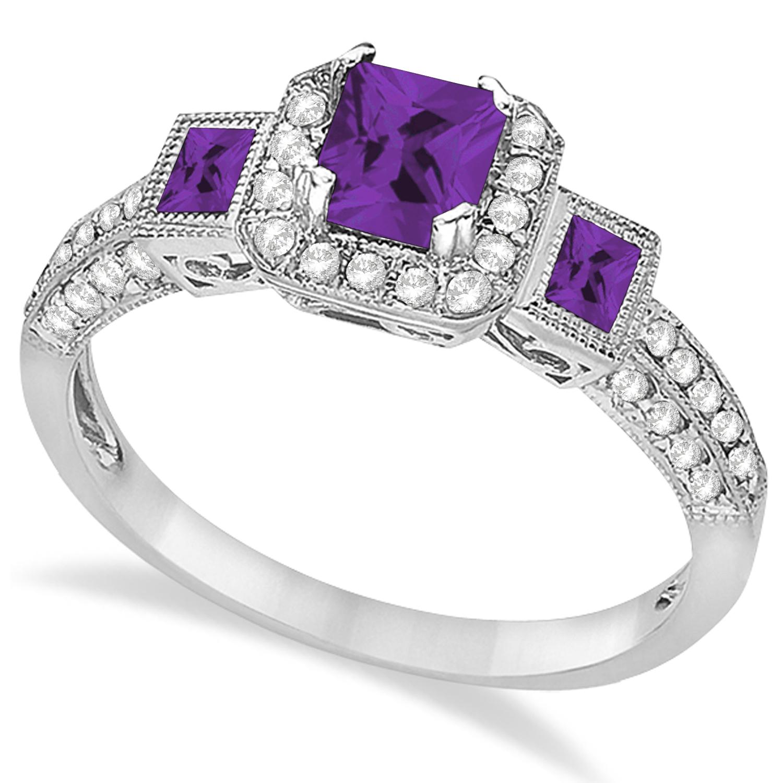 Amethyst & Diamond Engagement Ring 14k White Gold (1.35ctw)