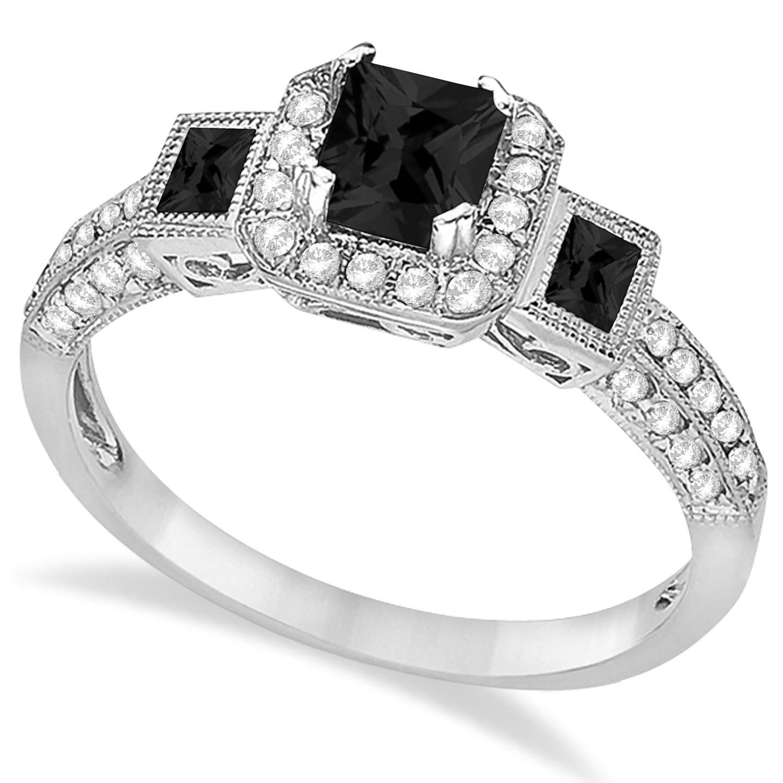 Black Diamond & Diamond Engagement Ring 14k White Gold (1.35ctw)