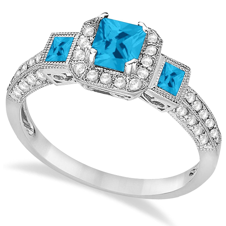 Blue Topaz & Diamond Engagement Ring 14k White Gold (1.35ctw)