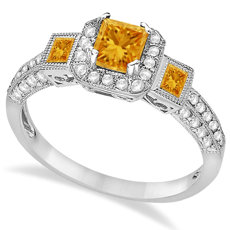 Citrine & Diamond Engagement Ring 14k White Gold (1.35ctw)