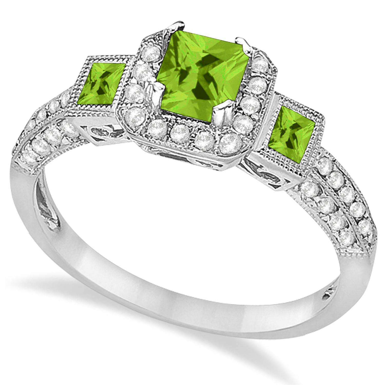 Peridot & Diamond Engagement Ring 14k White Gold (1.35ctw)