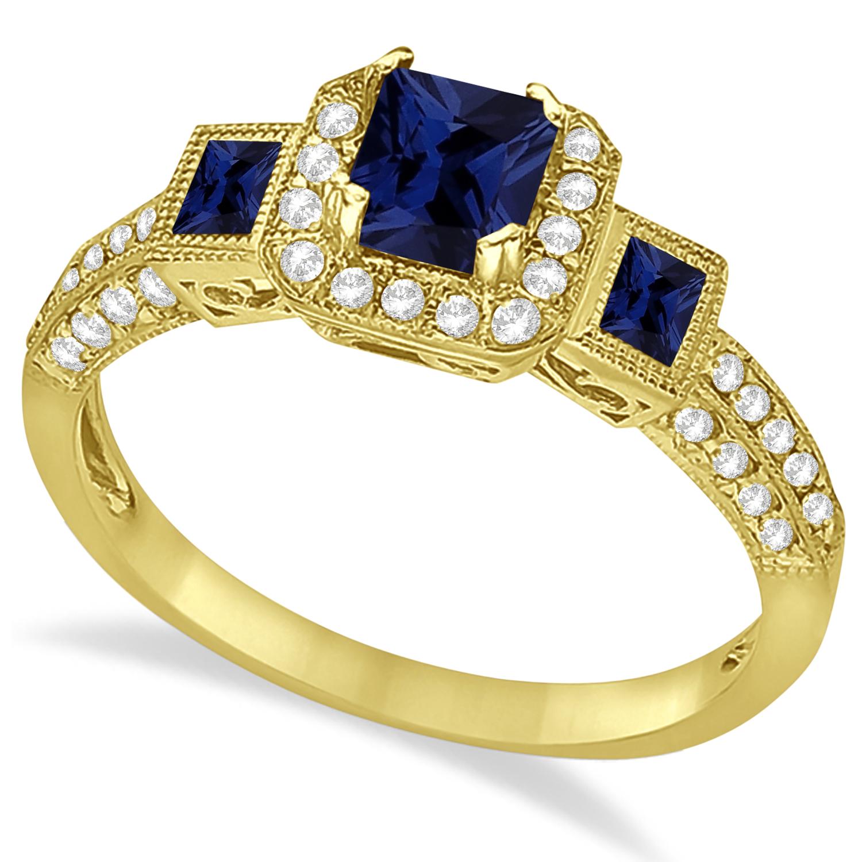 blue sapphire diamond engagement ring 14k yellow gold 1. Black Bedroom Furniture Sets. Home Design Ideas