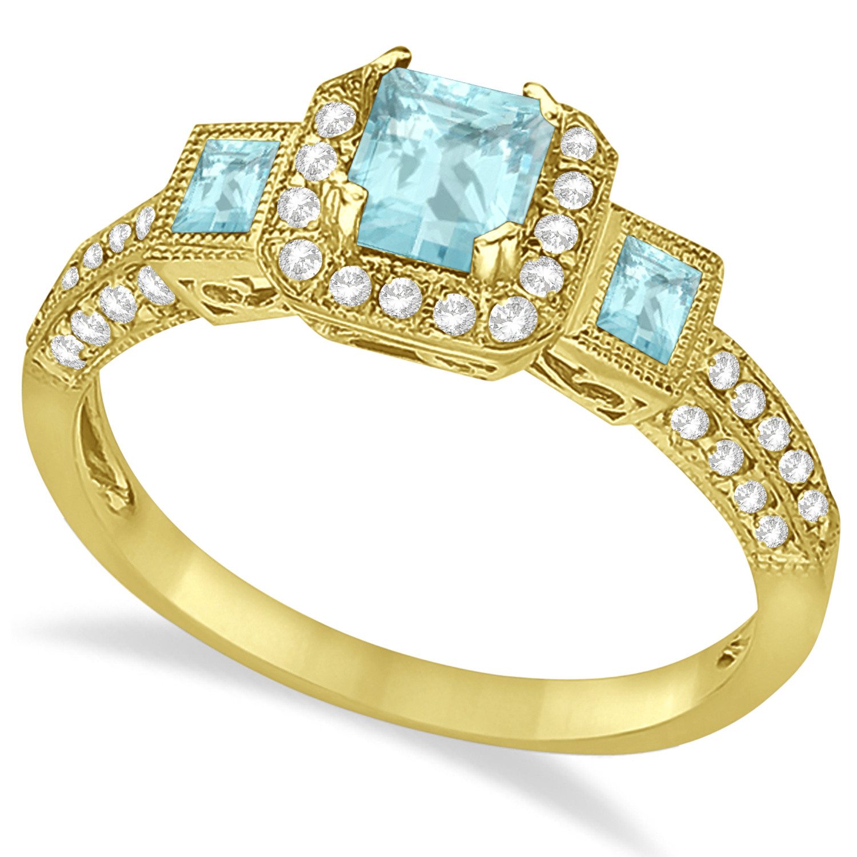 Aquamarine & Diamond Engagement Ring in 14k Yellow Gold (1.35ctw)