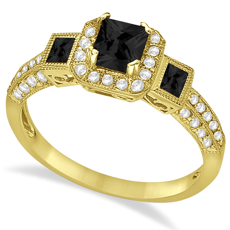 Black Diamond & Diamond Engagement Ring in 14k Yellow Gold (1.35ctw)
