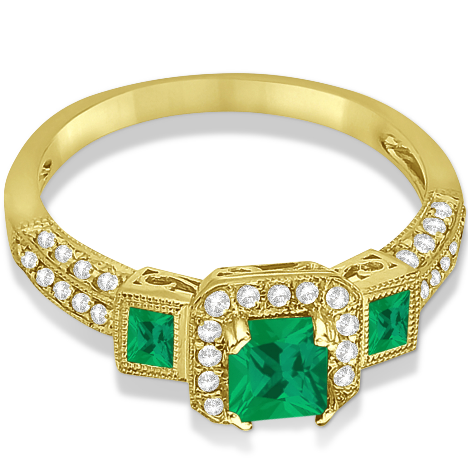 Emerald & Diamond Engagement Ring in 14k Yellow Gold (1.35ctw)