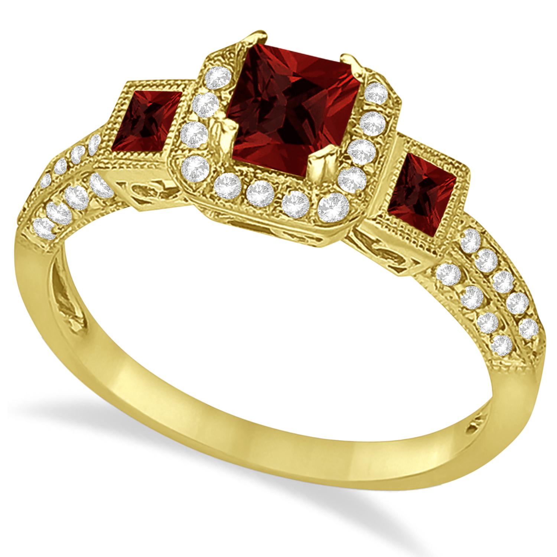 Garnet & Diamond Engagement Ring in 14k Yellow Gold (1.35ctw)
