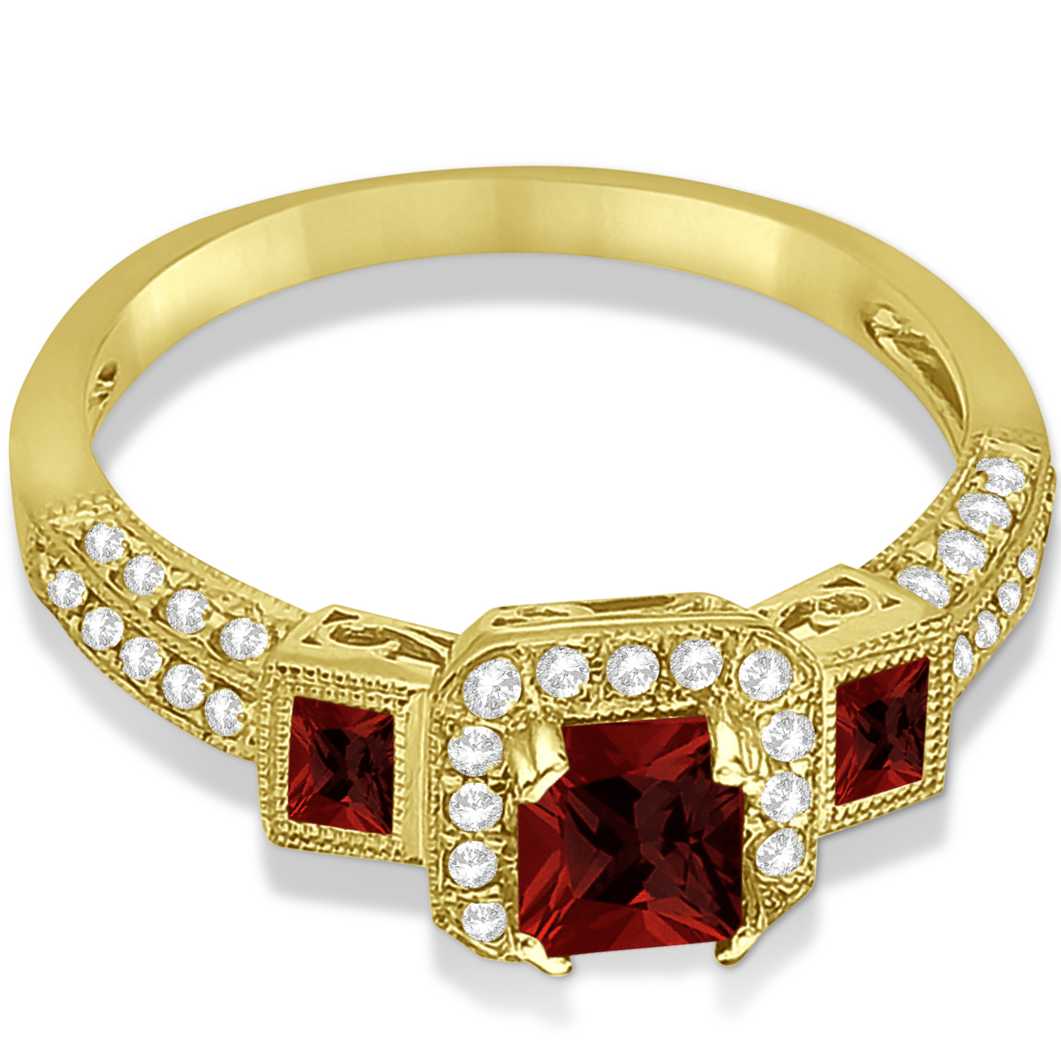 garnet engagement ring in 14k yellow gold 1