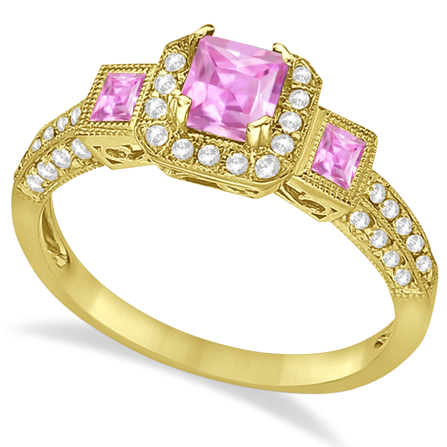pink sapphire engagement ring 14k yellow gold 1 35ct