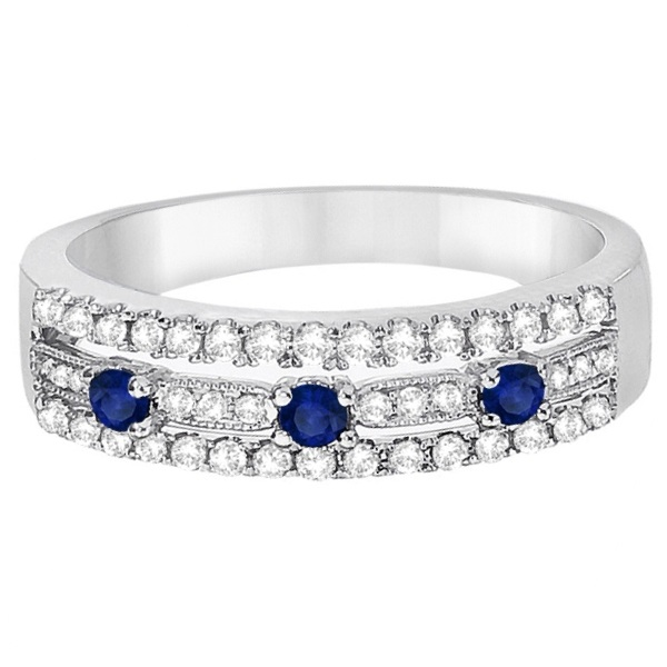 Blue Sapphire & Diamond Ring 14k White Gold (0.45ctw)