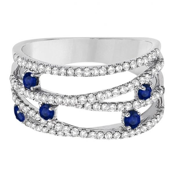 Blue Sapphire & Diamond Bypass Wide Ring 14k White Gold (0.90ctw)