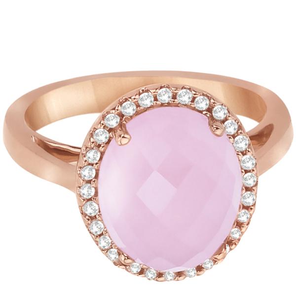 Oval Cut Rose Quartz & Diamond Cocktail Ring 14k Pink Gold (4.92ct)