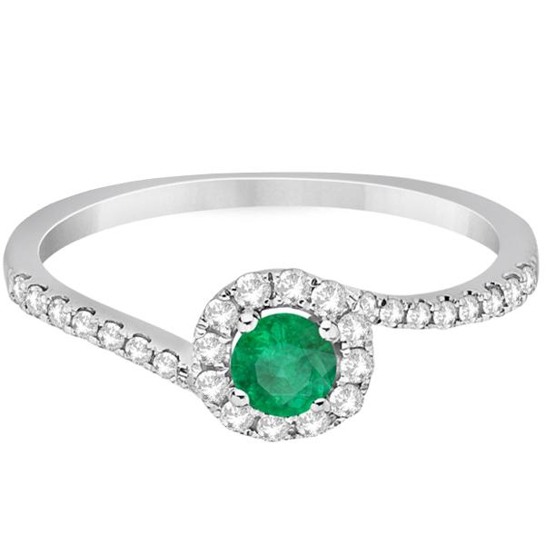 Halo Emerald & Diamond Engagement Ring Swirl 14K White Gold (0.65ct)