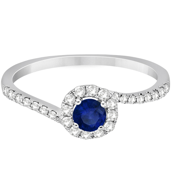 Halo Blue Sapphire & Diamond Engagement Ring 14K White Gold (0.65ct)