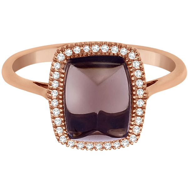 Smoky Topaz & Diamond Cocktail Ring 14K Rose Gold (2.33ct)