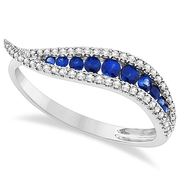 Wave Style Blue Sapphire & Diamond Ring 14K White Gold (0.39ct)