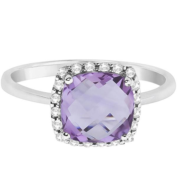 Cushion Amethyst & Diamond Ring Halo Style 14K White Gold (2.16ct)
