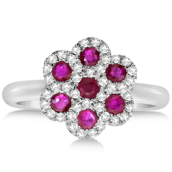Ruby & Diamond Flower Cluster Fashion Ring in 14k White Gold 0.35ct