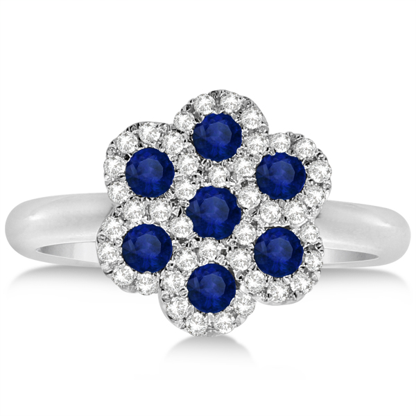 Sapphire & Diamond Flower Cluster Fashion Ring in 14k White Gold 0.35ct