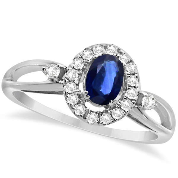 Oval Sapphire & Diamond Halo Engagement Ring 14k White Gold 0.63ct