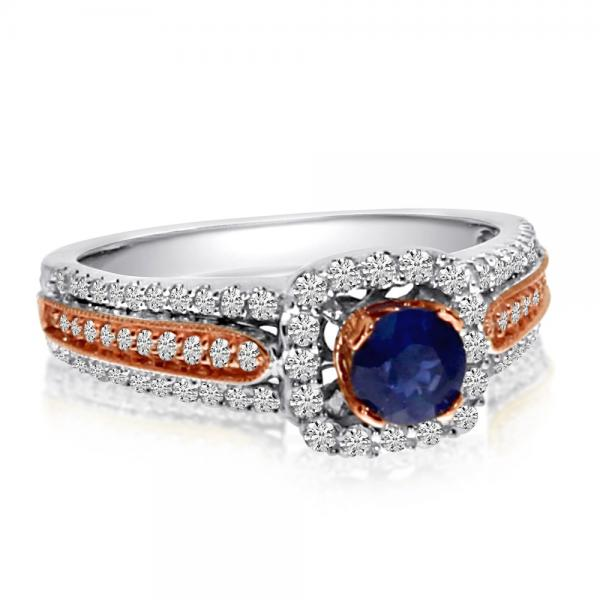Blue Sapphire & Diamond Ring in 14k Two Tone Gold (0.88ctw)