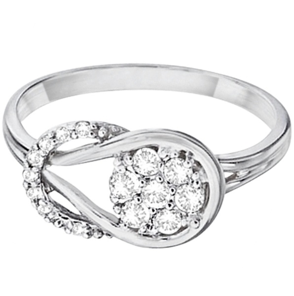 Diamond Love Knot Cluster Ring in 14k White Gold (0.25ct)