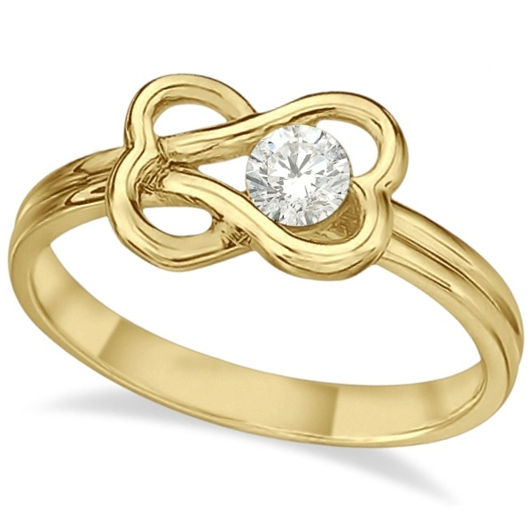 Diamond Love Knot Right-Hand Fashion Ring in 14k Yellow Gold (0.25ct)