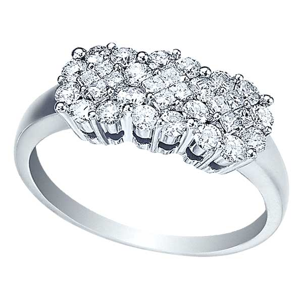 Round & Princess Cut Diamond Clusters Flower Ring 14k Gold (0.75ct)