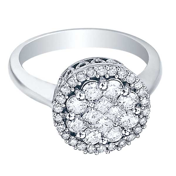 Round & Princess Diamond Clusters Flower Ring 14k White Gold (1.00ct)