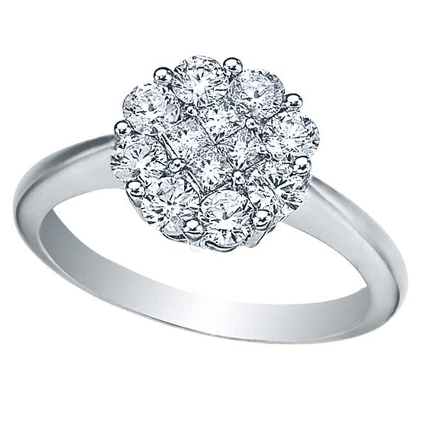 Round & Princess Diamond Clusters Flower Ring in 14k Gold (1.00ctw)