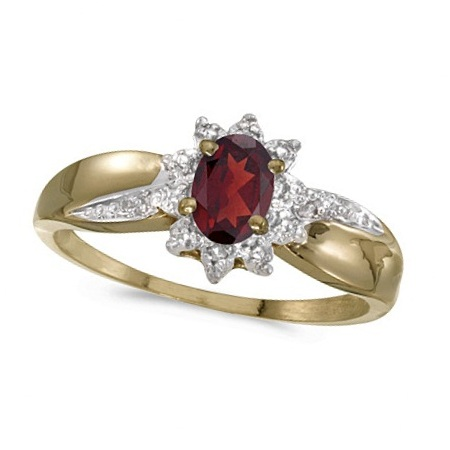 Garnet & Diamond Right Hand Flower Shaped Ring 14k Yellow Gold (0.55ct)