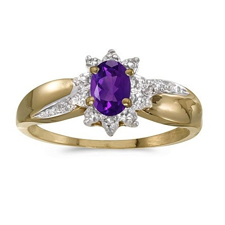 Amethyst & Diamond Right Hand Flower Shaped Ring 14k Yellow Gold (0.45ct)