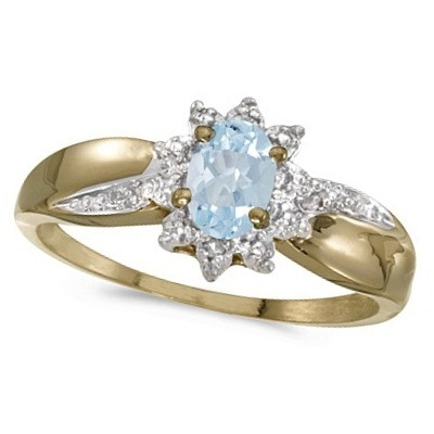 Aquamarine & Diamond Right Hand Flower Shaped Ring 14k Yellow Gold