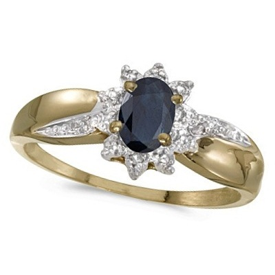 Blue Sapphire & Diamond Right Hand Flower Ring 14k Yellow Gold (0.55ct)