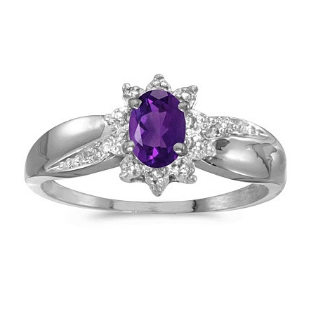 Amethyst & Diamond Right Hand Flower Shaped Ring 14k White Gold (0.45ct)