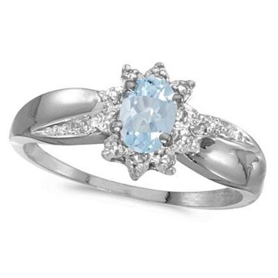 Aquamarine & Diamond Right Hand Flower Shaped Ring 14k White Gold