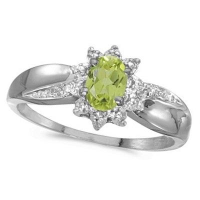 Peridot & Diamond Right Hand Flower Shaped Ring 14k White Gold (0.55ct)
