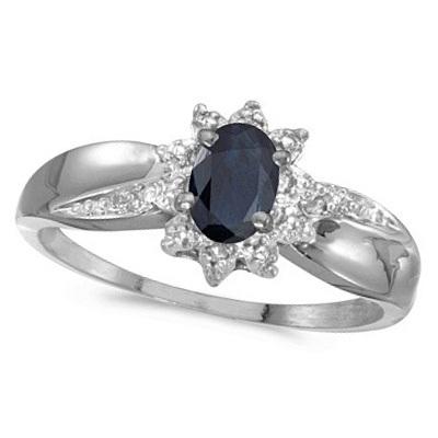 Blue Sapphire & Diamond Right Hand Flower Ring 14k White Gold (0.55ct)
