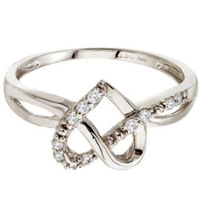 Diamond Knot Heart Shaped Right Hand Ring 14k White Gold (0.10ct)