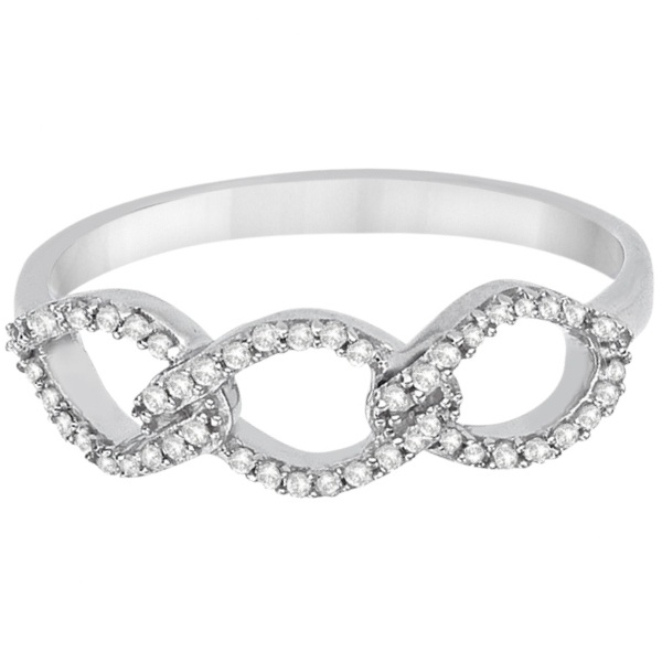 Diamond Swirl Triple Link Infinity Ring 14k White Gold (0.15ct)